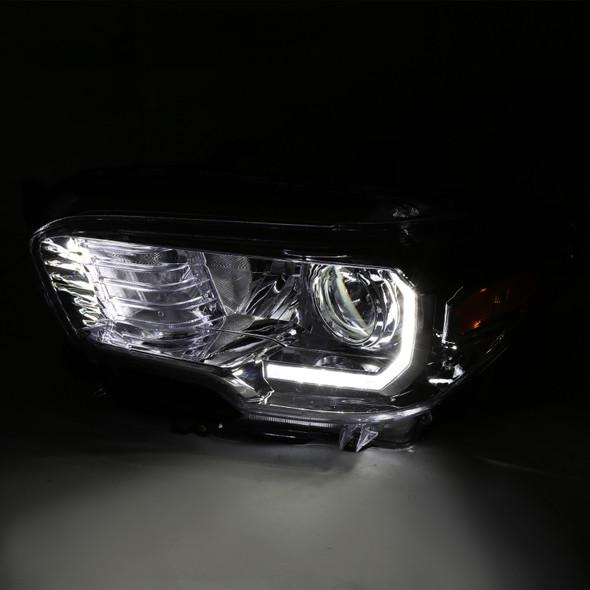 2016-2018 Toyota Tacoma Chrome Housing Clear Lens Projector Headlight w/ LED DRL bar