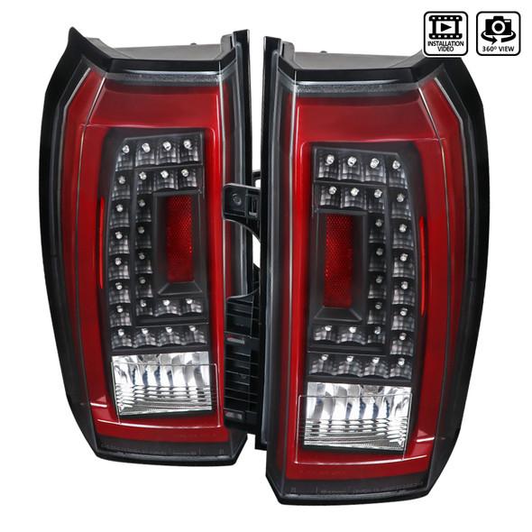 2015-2020 Chevrolet Tahoe/Suburban LS LT LTZ Premier Red Bar LED Tail Lights (Black Housing/Clear Lens)