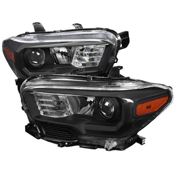 2016-2018 Toyota Tacoma Projector Headlights w/ Amber Reflectors (Matte Black Housing/Clear Lens)