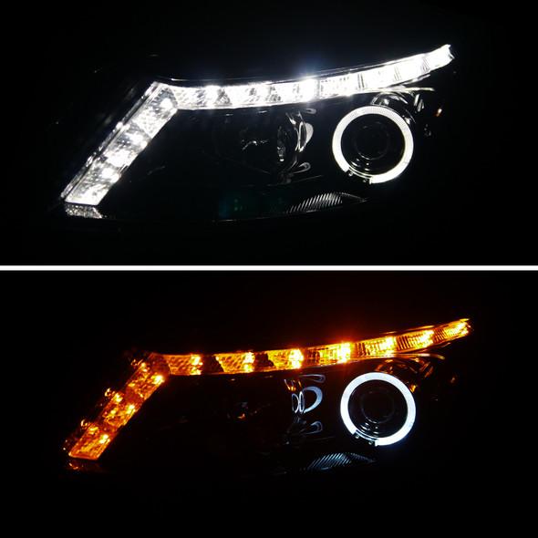 2008-2012 Honda Accord Sedan Single Halo Projector Headlights w/ LED Light Strip & LED Turn Signal Lights (Glossy Black Housing/Smoke Lens)