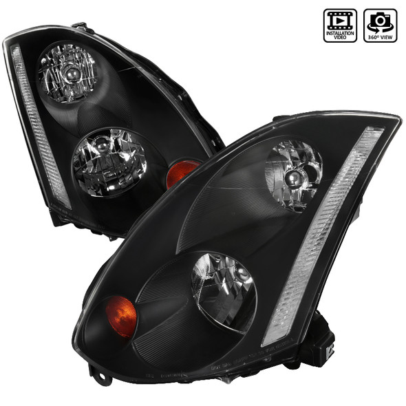 2003-2005 Infiniti G35 Coupe Factory Style Headlights (Matte Black Housing/Clear Lens)