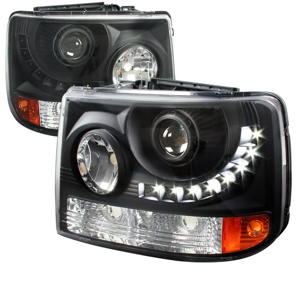 1999-2002 Chevrolet Silverado 1500 2500/ 2000-2006 Tahoe Suburban 1PC Projector Headlights w/ LED Light Strip & Bumper Lights (Matte Black Housing/Clear Lens)