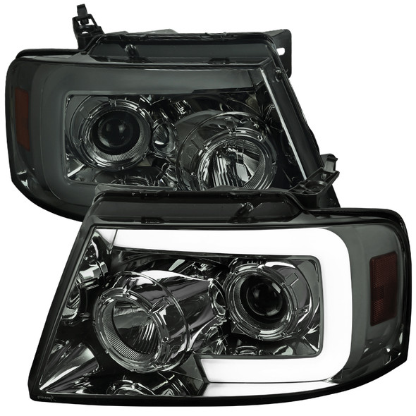 2004-2008 Ford F-150/ 2006-2008 Lincoln Mark LT Switchback Sequential LED C-Bar Projector Headlights (Chrome Housing/Smoke Lens)