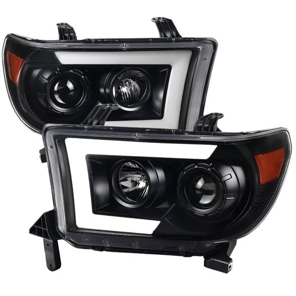 2007-2013 Toyota Tundra/ 2008-2017 Sequoia LED C-Bar Projector Headlights w/ Switchback Sequential Turn Signals (Matte Black Housing/Clear Lens)