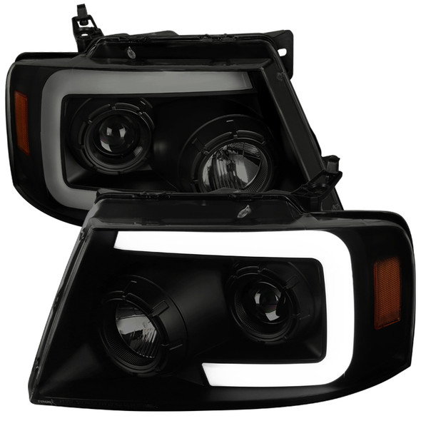 2004-2008 Ford F-150/ 2006-2008 Lincoln Mark LT Switchback Sequential LED C-Bar Projector Headlights (Black Housing/Smoke Lens)