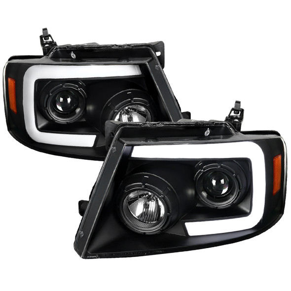 2004-2008 Ford F-150/ 2006-2008 Lincoln Mark LT Switchback Sequential LED C-Bar Projector Headlights (Matte Black Housing/Clear Lens)