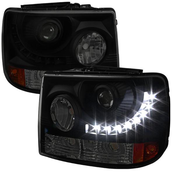 1999-2002 Chevrolet Silverado 1PC Projector Headlights w/ LED Light Strip & Bumper Lights (Black Housing/Smoke Lens)