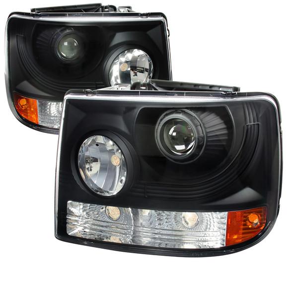 1999-2002 Chevrolet Silverado 1500 2500/ 2000-2006 Tahoe Suburban 1PC Projector Headlights w/ Bumper Lights (Matte Black Housing/Clear Lens)
