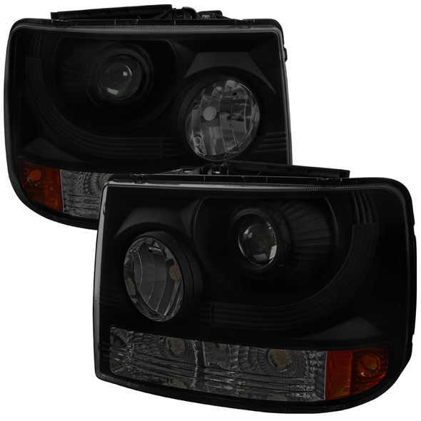 1999-2002 Chevrolet Silverado 1500 2500/ 2000-2006 Tahoe Suburban 1PC Projector Headlights w/ Bumper Lights (Black Housing/Smoke Lens)