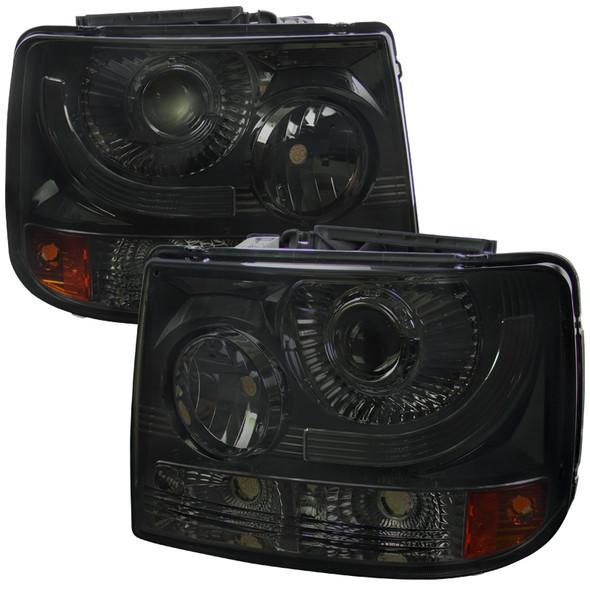 1999-2002 Chevrolet Silverado 1500 2500/ 2000-2006 Tahoe Suburban 1PC Projector Headlights w/ Bumper Lights (Chrome Housing/Smoke Lens)