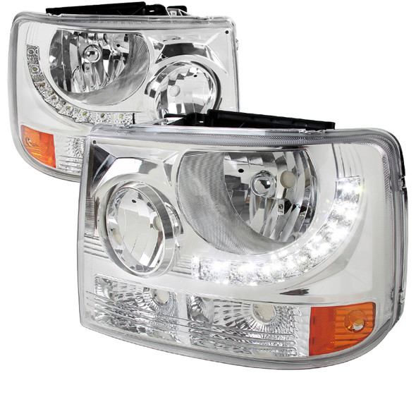 1999-2002 Chevrolet Silverado 1500 2500/ 2000-2006 Tahoe Suburban 1PC Factory Style Headlights w/ SMD LED Light Strip & Bumper Lights (Chrome Housing/Clear Lens)