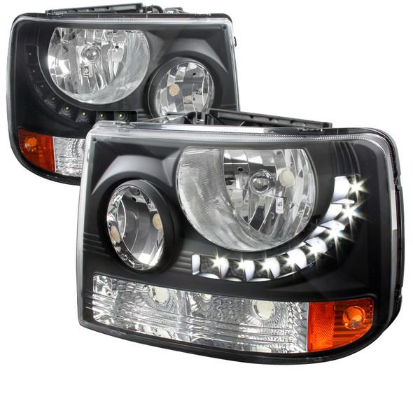 1999-2002 Chevrolet Silverado 1500 2500/ 2000-2006 Tahoe Suburban 1PC Factory Style Headlights w/ SMD LED Light Strip & Bumper Lights (Matte Black Housing/Clear Lens)