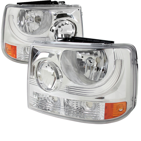1999-2002 Chevrolet Silverado 1500 2500/ 2000-2006 Tahoe Suburban 1PC Factory Style Headlights w/ Bumper Lights (Chrome Housing/Clear Lens)