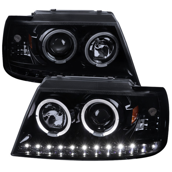 2002-2005 Ford Explorer Dual Halo Projector Headlights (Glossy Black Housing/Smoke Lens)