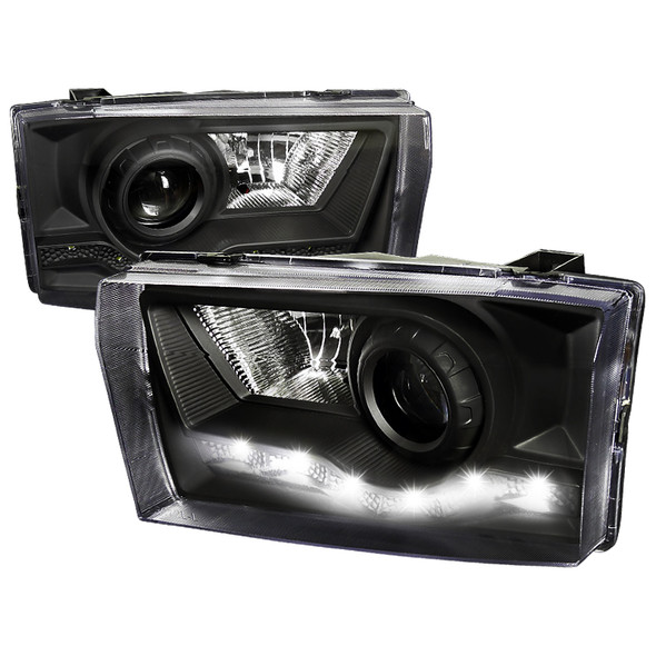 1999-2004 Ford F-250/F-350/F-450/F-550/Excursion Black Housing Clear Lens Projector Headlights w/ SMD LED DRL