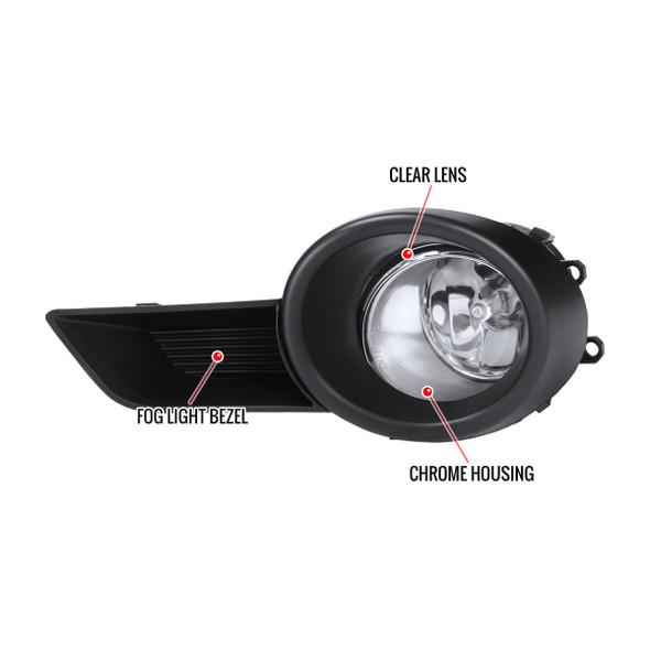 2008-2011 Toyota Highlander 12V/55W H11 Fog Lights Kit (Chrome Housing/Clear Lens)