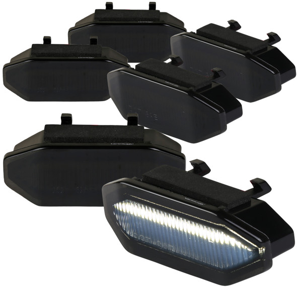 2015-2017 Ford Mustang Front Grille LED Driving Lights - 6PC (Black Housing/Smoke Lens)