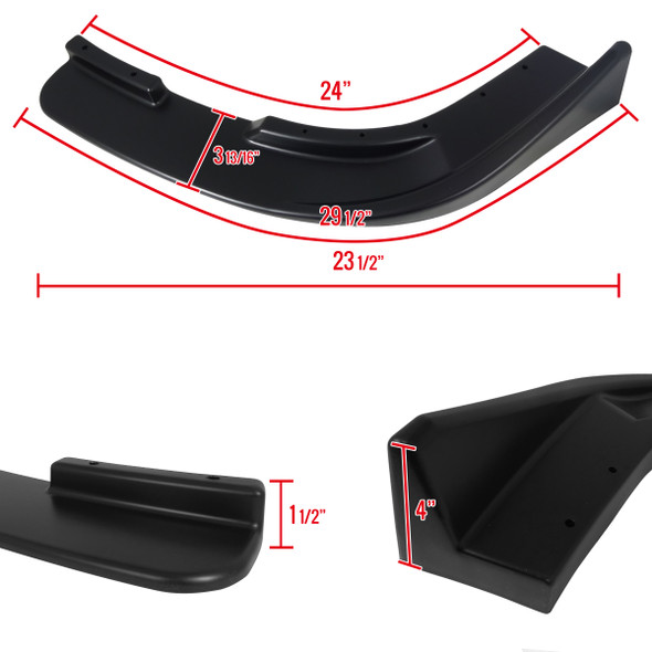 Universal Matte Black Polypropylene Front Bumper Lip Splitters