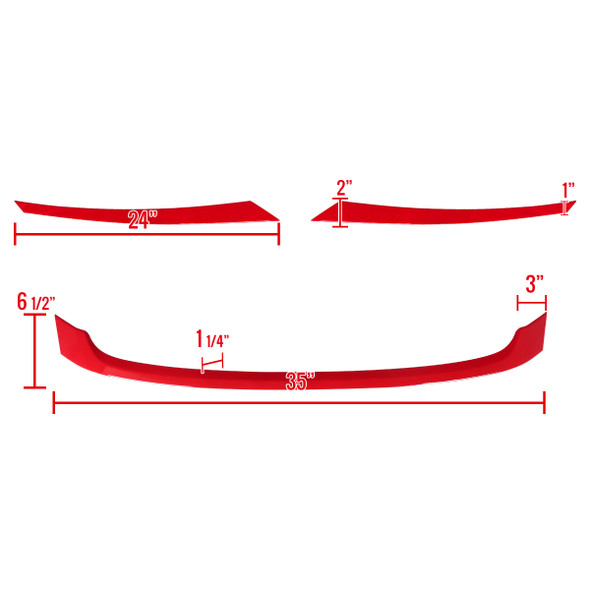 2016-2018 Honda Civic FK8 Red ABS Grille Trim Covers
