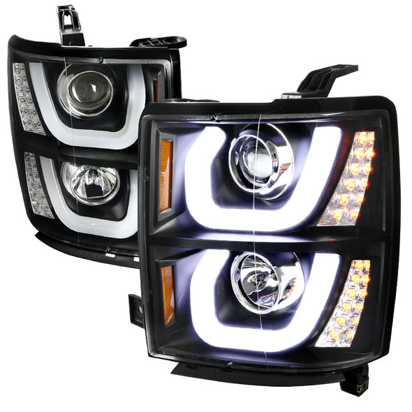 2014-2015 Chevrolet Silverado 1500 LED U-Bar Projector Headlights w/ LED Turn Signal Lights (Matte Black Housing/Clear Lens)
