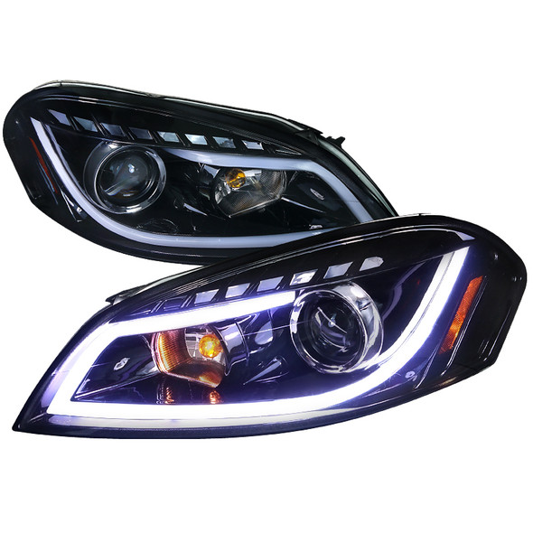2006-2015 Chevrolet Impala/Monte Carlo LED Bar Projector Headlights (Glossy Black Housing/Smoke Lens)