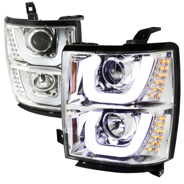 2014-2015 Chevrolet Silverado 1500 Dual LED U-Bar Projector Headlights w/ LED Turn Signal Lights (Chrome Housing/Clear Lens)