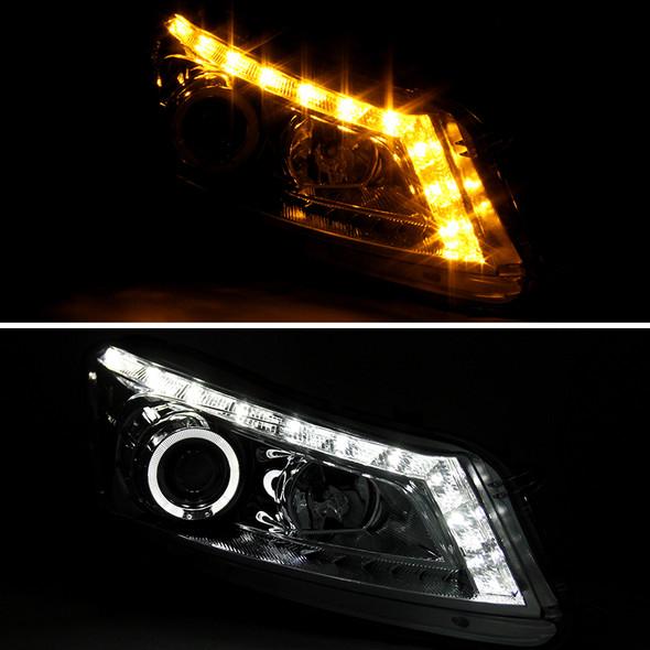 2008-2012 Honda Accord Sedan Single Halo Projector Headlights w/ LED Light Strip & LED Turn Signal Lights (Chrome Housing/Clear Lens)