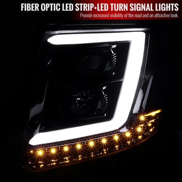 2015-2020 Chevrolet Tahoe Suburban/ 2016-2019 Suburban 3500HD LED C-Bar Projector Headlights w/ LED Turn Signal Lights (Jet Black Housing/Clear Lens)
