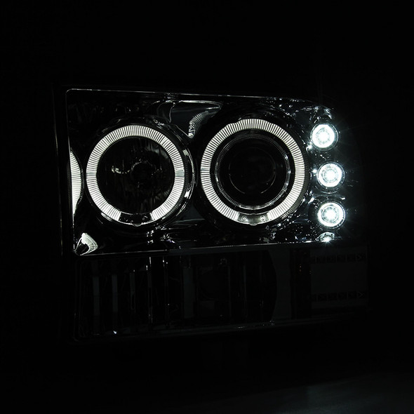 1999-2004 Ford Excursion F-250 F-350 F-450 F-550 Dual Halo Projector Headlights (Chrome Housing/Clear Lens)