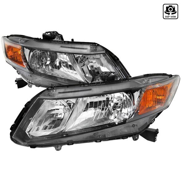 2012-2013 Honda Civic Coupe/ 2012-2015 Civic Sedan Crystal Headlights (Matte Black Housing/Clear Lens)