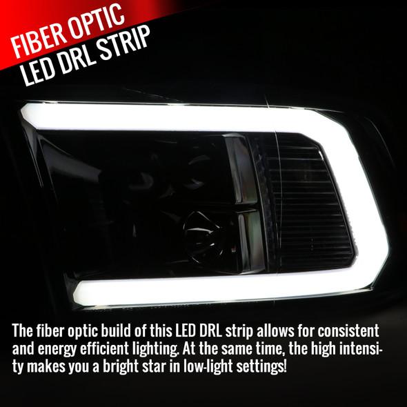 2009-2019 Dodge RAM 1500/2500/3500 Projector Headlights w/ LED Tube & H1 Bulbs (Jet Black Housing/Clear Lens)