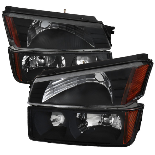 2002-2006 Chevrolet Avalanche 1500/2500 Factory Style Headlights w/ Bumper Signal Lights (Matte Black Housing/Clear Lens)