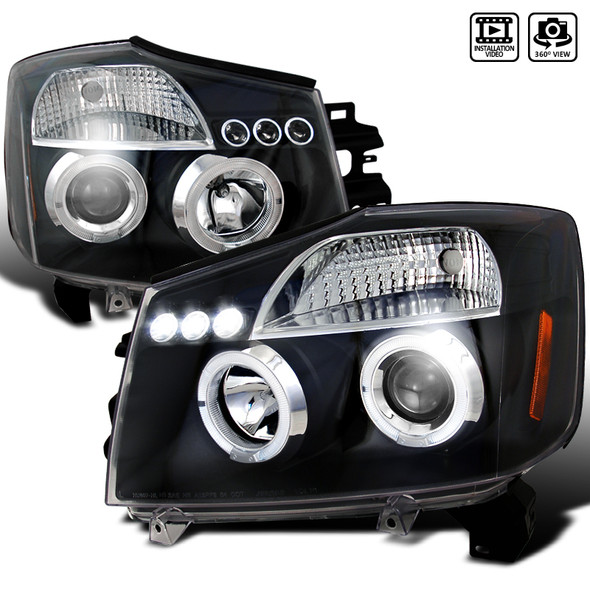 2004-2015 Nissan Titan/ 2004-2007 Armada Dual Halo Projector Headlights (Matte Black Housing/Clear Lens)