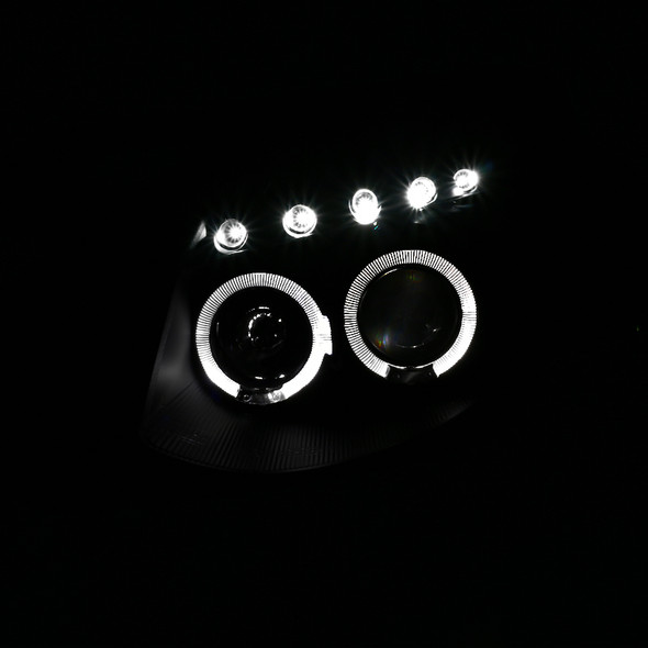 2003-2007 Infiniti G35 Coupe Dual Halo Projector Headlights (Matte Black Housing/Clear Lens)