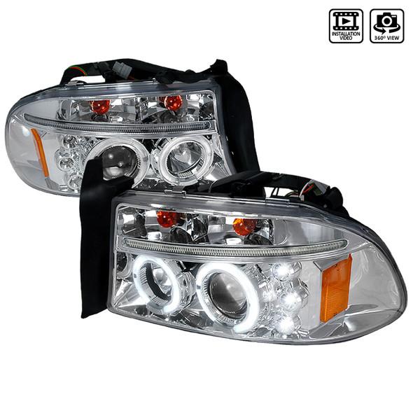 1997-2004 Dodge Dakota/ 1998-2003 Durango Dual Halo Projector Headlights (Chrome Housing/Clear Lens)