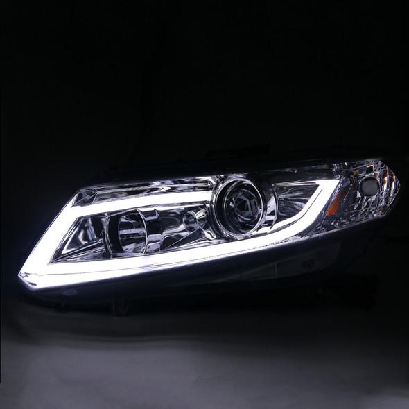 2012-2013 Honda Civic Coupe/ 2012-2015 Civic Sedan LED Bar Projector Headlights (Chrome Housing/Clear Lens)