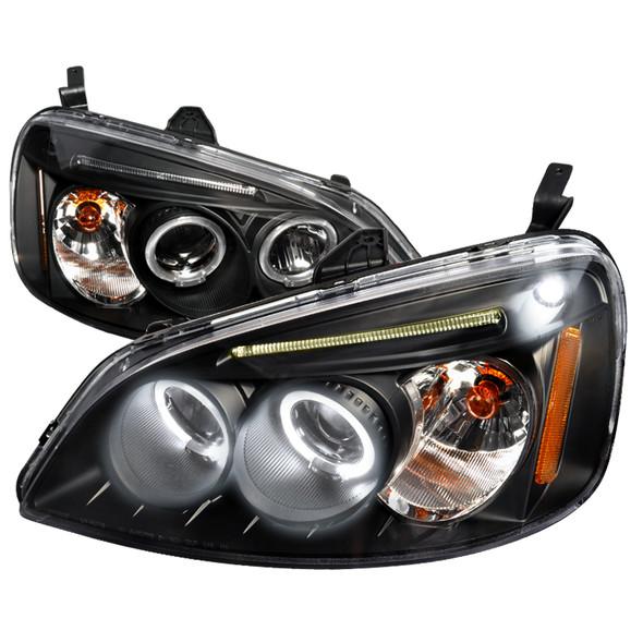 2001-2003 Honda Civic Dual Halo Projector Headlights (Matte Black Housing/Clear Lens)