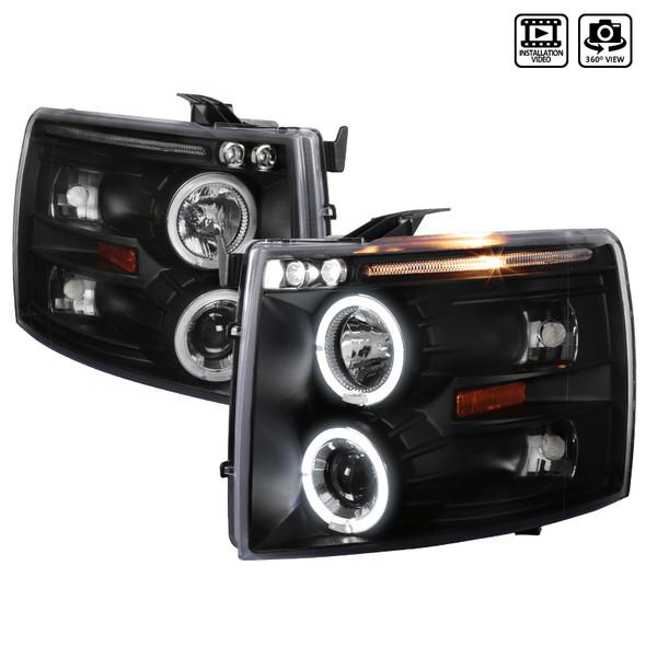 2007-2013 Chevrolet Silverado 1500/ 2007-2014 Silverado 2500HD 3500HD Dual Halo Projector Headlights (Matte Black Housing/Clear Lens)