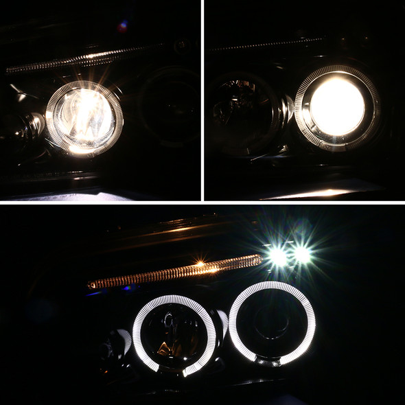 2006-2010 Dodge Charger Dual Halo Projector Headlights w/ LED DRL (Jet Black Housing/Clear Lens)