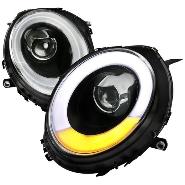 2007-2015 Mini Cooper LED DRL Projector  Headlights w/ LED Turn Signal (Matte Black Housing/Clear Lens)