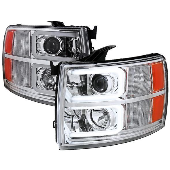 2007-2013 Chevrolet Silverado 1500/ 2007-2014 Silverado 2500HD 3500HD Dual LED C-Bar Projector Headlights (Chrome Housing/Clear Lens)