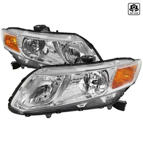 2012-2013 Honda Civic Coupe/ 2012-2015 Civic Sedan Crystal Headlights (Chrome Housing/Clear Lens)