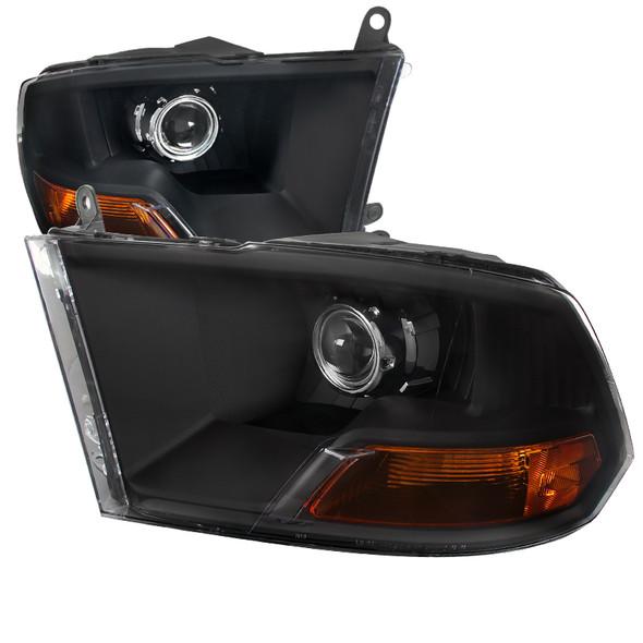 2009-2018 Dodge RAM 1500 / 2019-2021 RAM Classic / 2010-2018 RAM 2500 3500 Retro Style Projector Headlights (Matte Black Housing/Clear Lens)