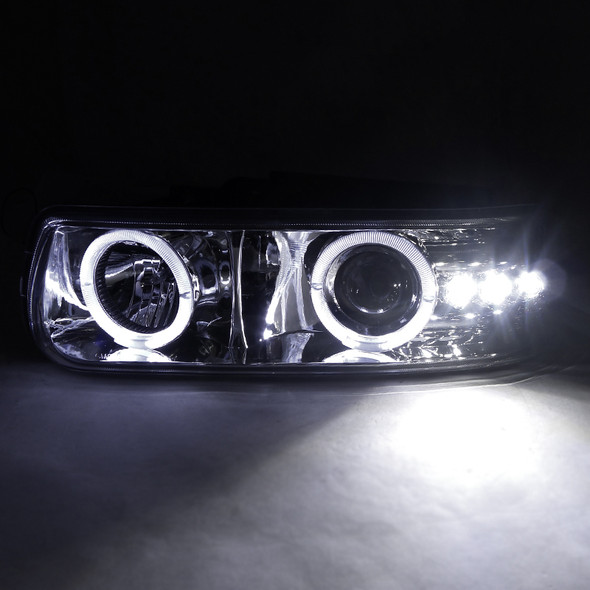 1999-2002 Chevrolet Silverado/ 2000-2006 Tahoe Suburban Dual Halo Projector Headlights (Chrome Housing/Clear Lens)