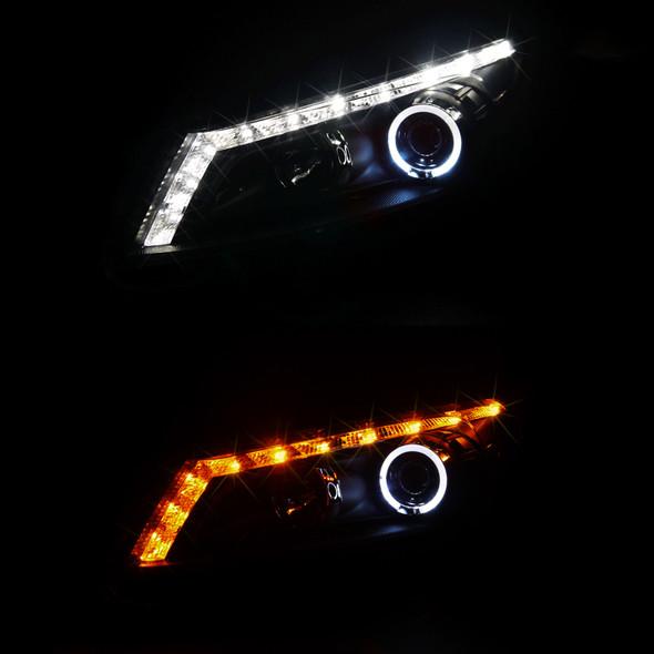 2008-2012 Honda Accord Sedan Single Halo Projector Headlights w/ LED Light Strip & LED Turn Signal Lights (Matte Black Housing/Clear Lens)