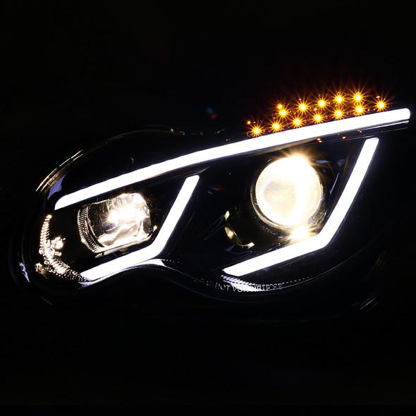 2001-2007 Mercedes Benz W203 C Class Sedan LED Bar Projector Headlights w/ LED Turn Signal Lights (Jet Black Housing/Clear Lens)