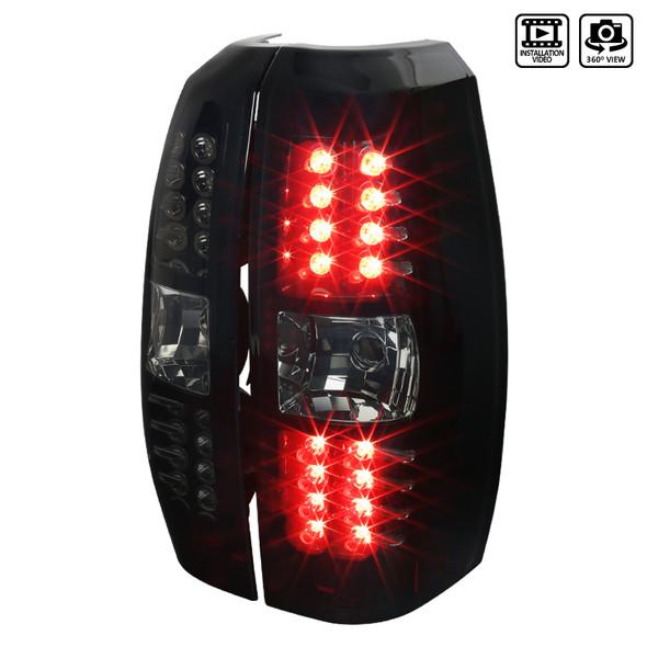 2007-2012 Chevrolet Avalanche LED Tail Lights (Glossy Black Housing/Smoke Lens)