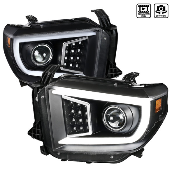 2014-2018 Toyota Tundra LED C-Bar Projector Headlights w/ Sequential Turn Signal Lights (Matte Black/Clear Lens)