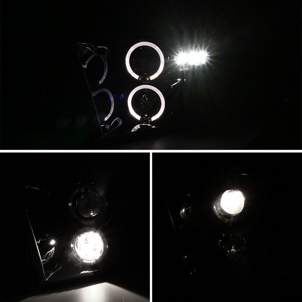 2009-2019 Dodge RAM 1500/2500/3500 Projector Headlights w/ LED DRL & H1 Bulbs (Jet Black Housing/Clear Lens)