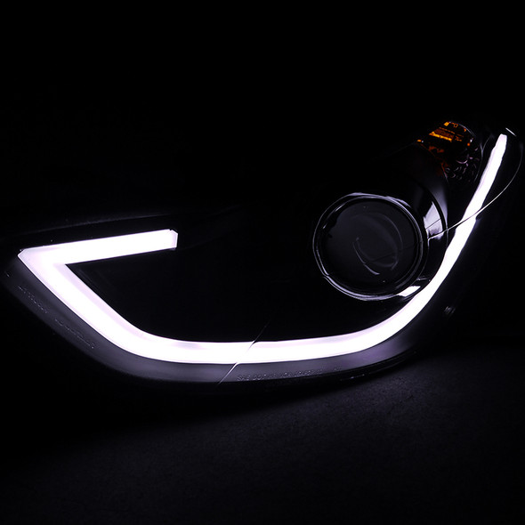 2011-2013 Hyundai Elantra DRL LED Projector Headlights (Matte Black Housing/Clear Lens)